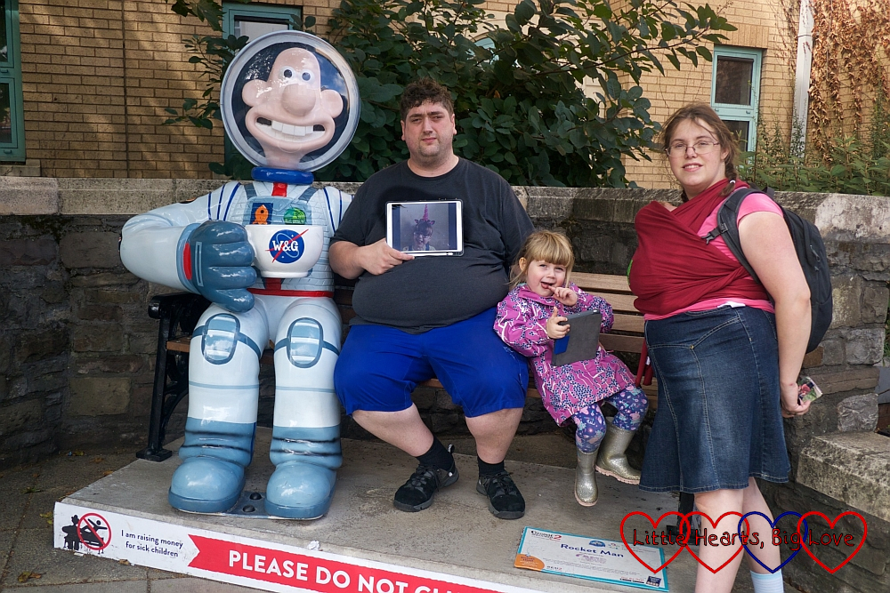 "Me, hubby, Sophie and Thomas with a picture of Jessica at ""Rocket Man"""