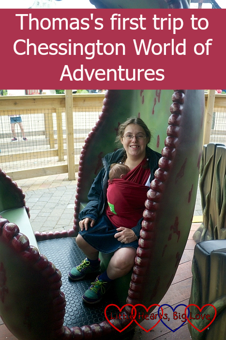 """Me and Thomas on a rocking carriage on the Adventure Tree carousel - """"Thomas's first trip to Chessington World of Adventures"""""""