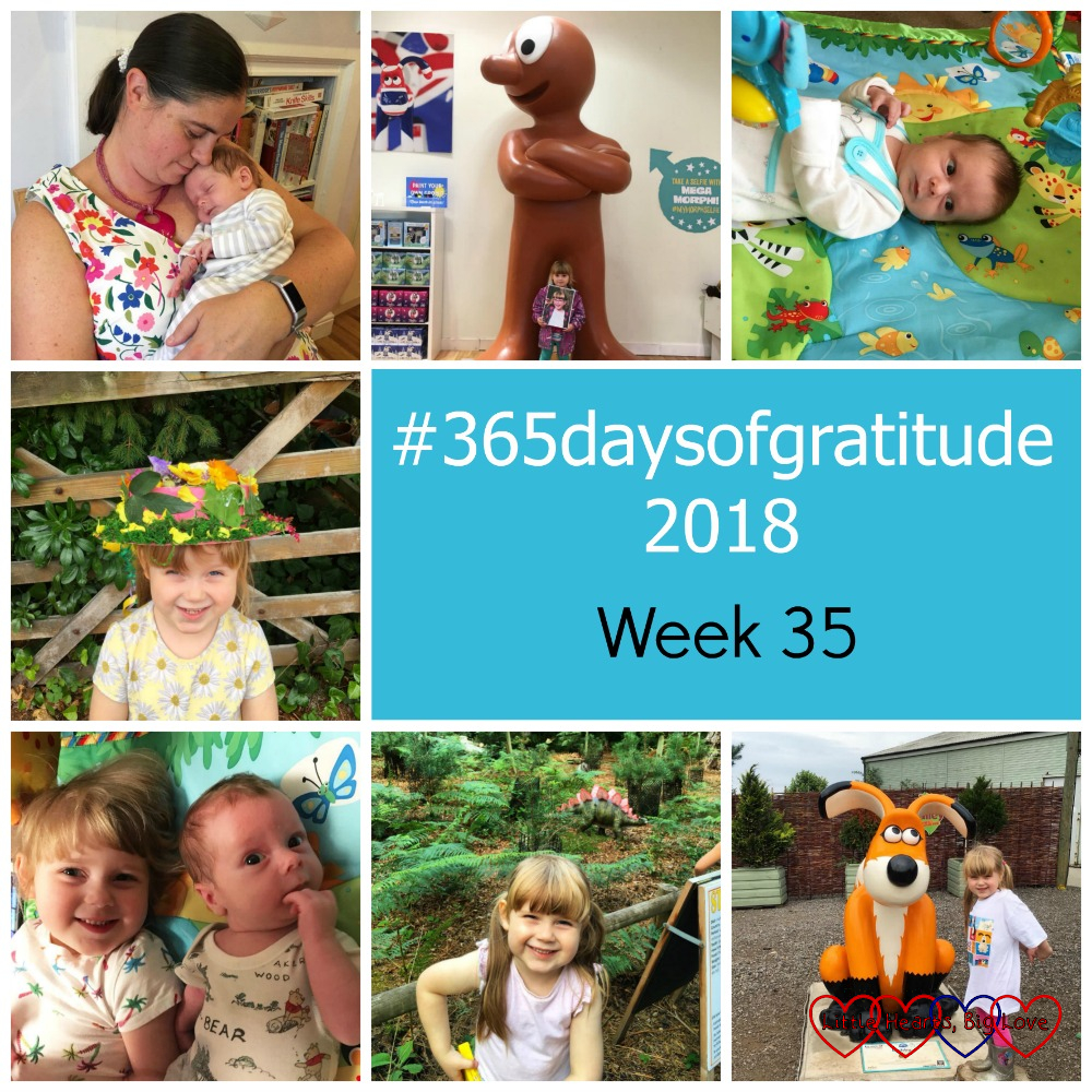 "My friend Nick cuddling Thomas; Sophie holding a picture of Jessica and standing next to a giant Morph; Thomas on his jungle gym; Sophie with her flowery hat; Sophie and Thomas on the jungle gym mat; Sophie with a stegosaurus at Black Park; Sophie with the ""Cubby"" Gromit sculpture - ""#365daysofgratitude 2018 - Week 35"""