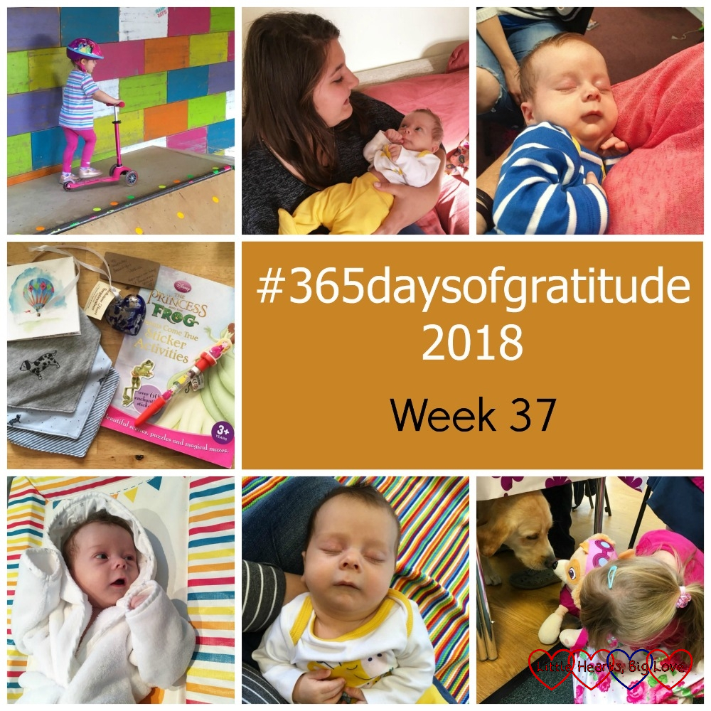 "Sophie scooting at an indoor skate park; my niece with Thomas; Thomas having a cuddle at Hub Cafe; a sticker book, dribble bibs and a glass heart; Thomas in his bath robe; Thomas asleep at Tiny Talk; Sophie showing her Skye toy to Sid the guide dog - ""#365daysofgratitude - Week 37"""