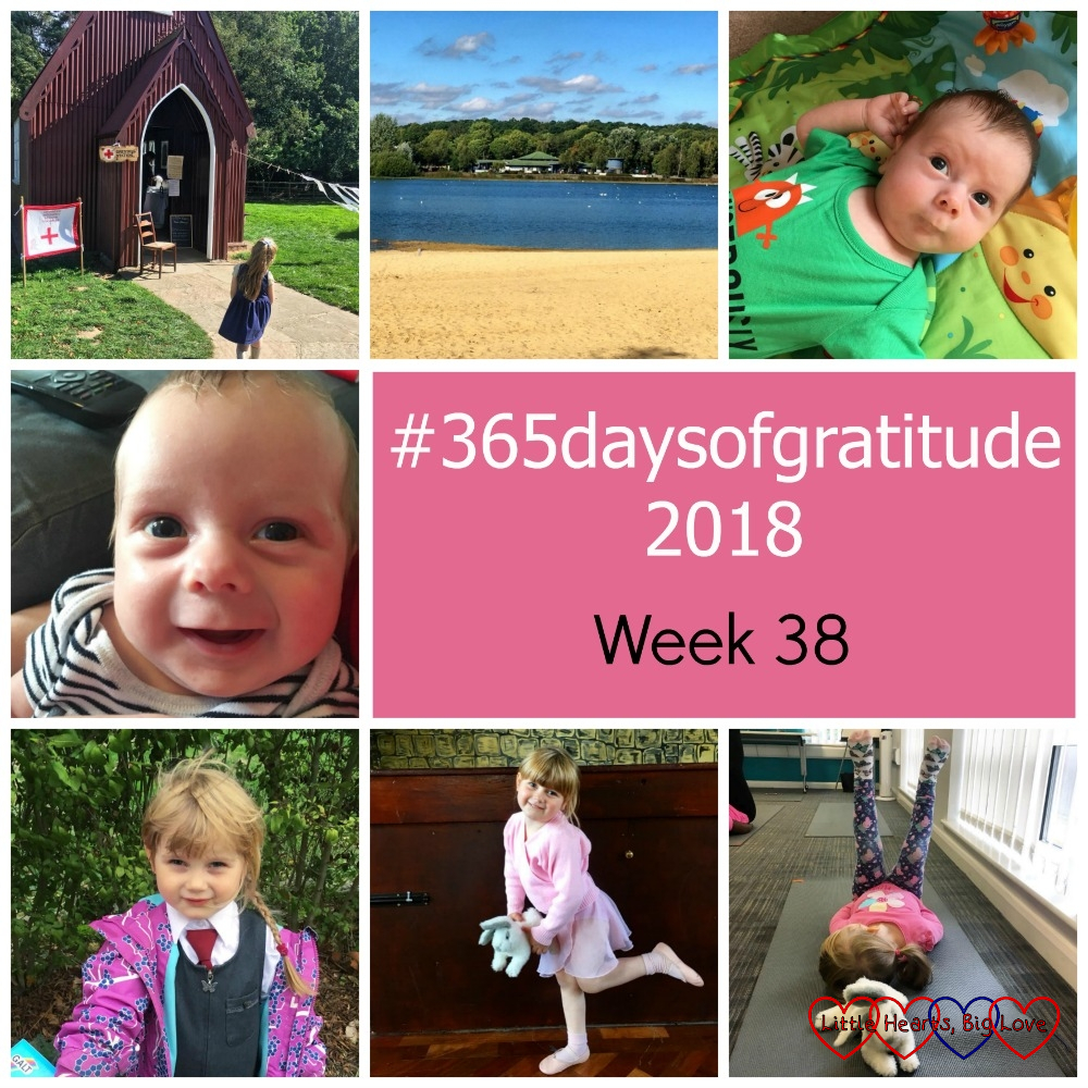 "Sophie at Chiltern Open Air Museum; the beach at Ruislip Lido; Thomas looking thoughtful on his playmat; Thomas smiling; Sophie in her school uniform; Sophie at ballet; Sophie doing yoga - ""#365daysofgratitude 2018 - Week 38"""
