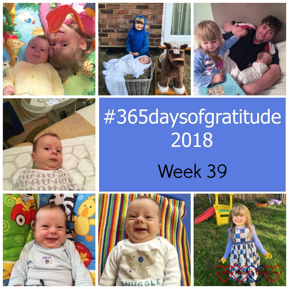 "Sophie and Thomas on the playmat; Sophie dressed as Mary with Thomas in a basket as the baby Jesus; Hubby with Sophie and Thomas; Thomas at his hip scan; Thomas smiling on his playmat; Thomas smiling at Tiny Talk; Sophie holding dandelions in the garden - ""#365daysofgratitude - Week 39"""
