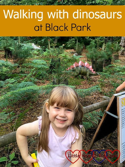 "Sophie with a Stegosaurus in the background - ""Walking with dinosaurs in Black Park"""