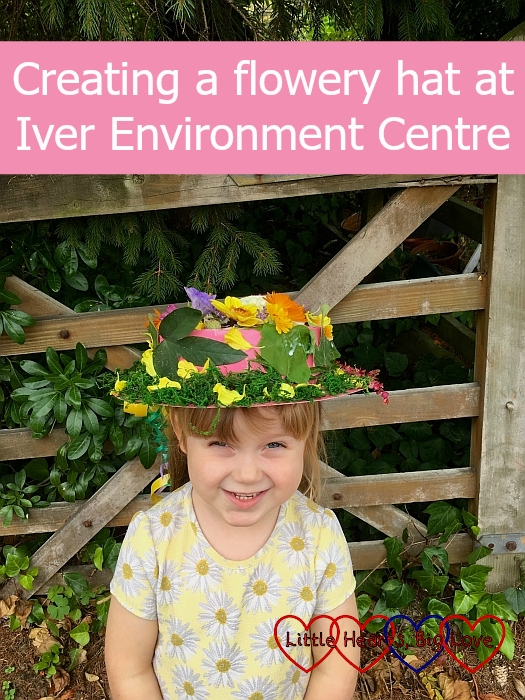 "Sophie wearing her flowery hat - ""Creating a flowery hat at Iver Environment Centre"""