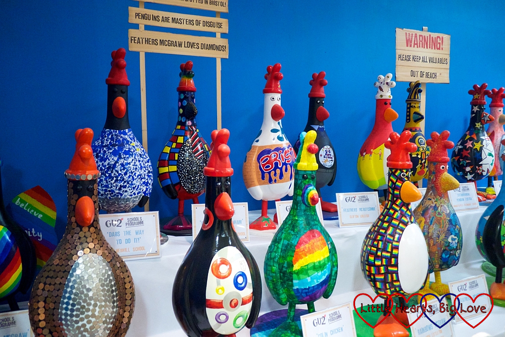 A selection of colourful Feathers sculptures in the Gromit Unleashed shop