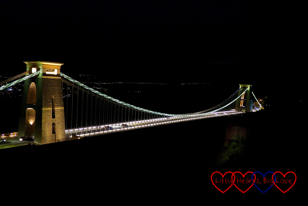 The Clifton Suspension Bridge at night