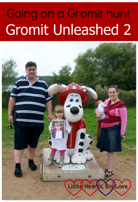 "Me, hubby, Sophie and Thomas plus a picture of Jessica at the Marshall sculpture - ""Going on a Gromit hunt - Gromit Unleashed 2"""