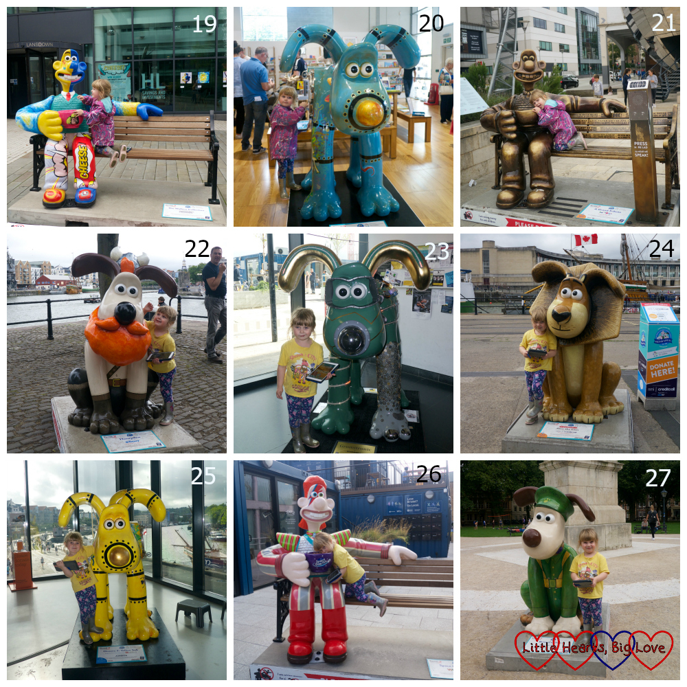Sculptures 19-27 - The Wallace Collection, Oceans 1: Deep Blue, A Grand Tribute, Honeydew, Gromitronic, Alex the Lion, Oceans 2: Yellow Sub, Space Oddi-tea and Bristol's Own
