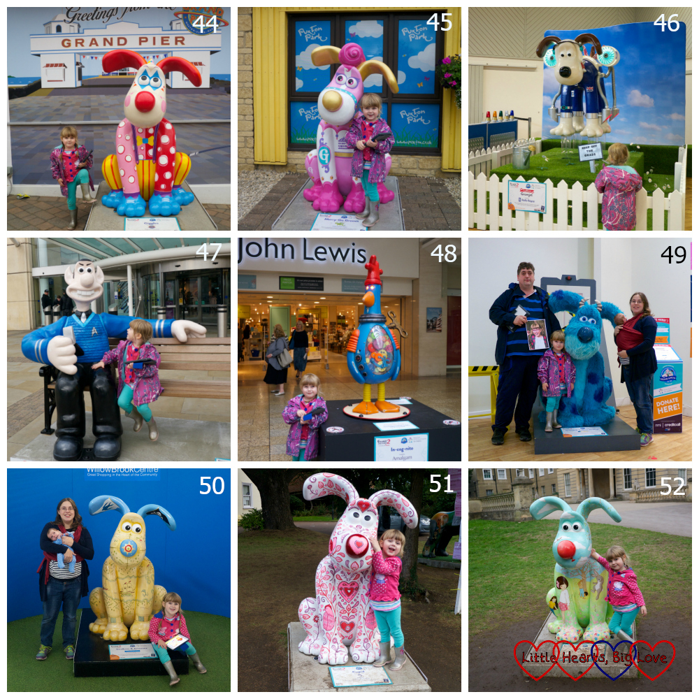 Sculptures 44 - 53 - Giggles, Merry Go Gromit, Gromjet, Spock, In-cog-nito, Gromit P. Sullivan (Sulley), Swallows and Amazons, Cupid, Peek-a-Boo