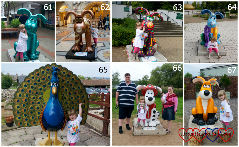 Sculptures 61-67 - Draco, A Grand Gromplication, Dias de los Perros, The Brystal Maze, Plooming Marvellous, Marshall and Cubby