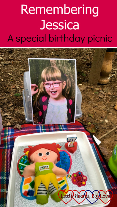 "Jessica's ""Kerry"" birthday cake with a photo of Jessica at her forever bed - ""Remembering Jessica: a special birthday picnic"""