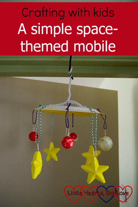 "A mobile made from a paper plate hung with polystyrene stars and ""planets"" - ""Crafting with kids - a simple space-themed mobile"""
