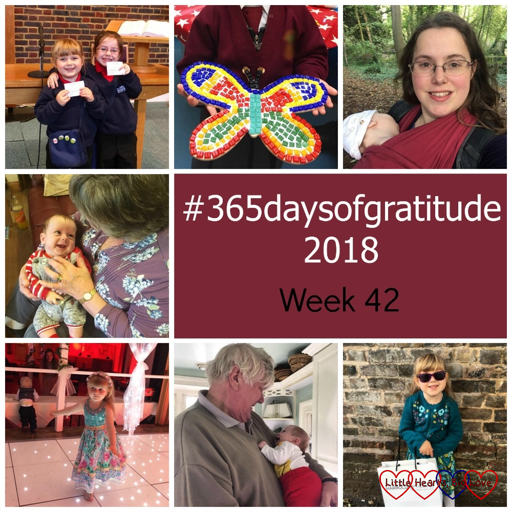 "Sophie and her friend at Girls' Brigade; a mosaic butterfly; me with Thomas in the carrier out for a woodland walk; Thomas smiling at Grandma; Sophie dancing at my friends' wedding; Thomas smiling at Grandad; Sophie wearing her sunglasses - ""#365daysofgratitude 2018 - Week 42"""