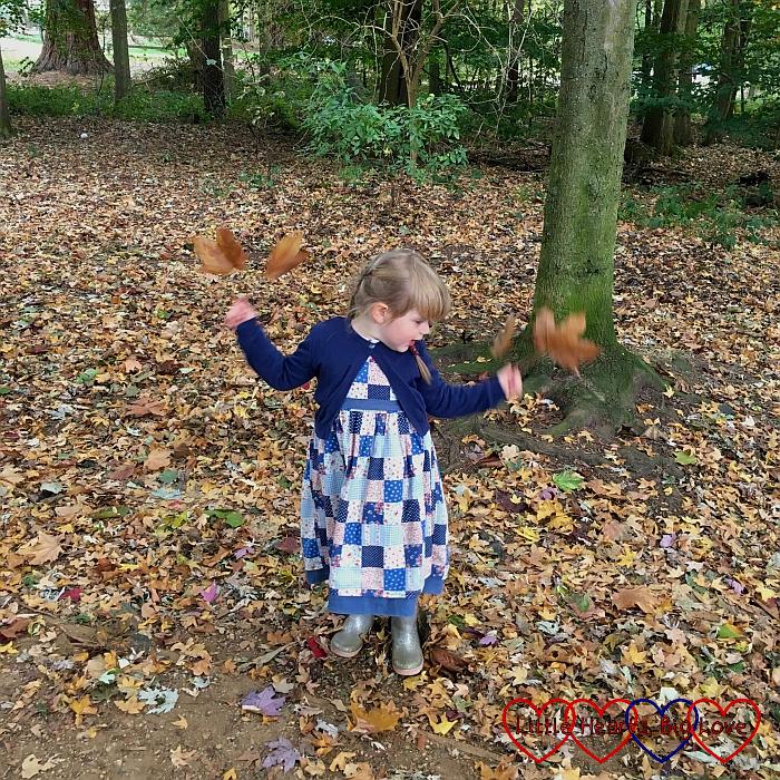 Sophie flapping big leaves like wings
