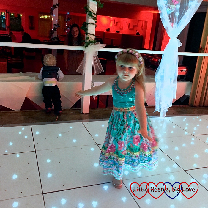 Sophie on the dancefloor at my friend's wedding reception