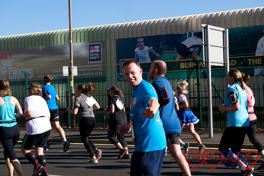 Uncle Pete running past us in his Little Hearts Matter T-shirt