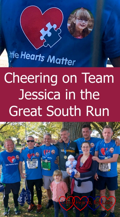 "top - Jessica's photo on the Little Hearts Matter T-shirt; bottom - Team Jessica with me, Sophie and Thomas - ""Cheering on Team Jessica in the Great South Run"""