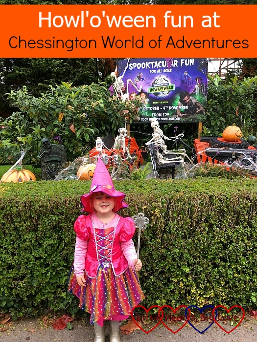"""Sophie with a Howl'o'ween display behind her at Chessington - """"Howl'o'ween fun at Chessington World of Adventures"""""""
