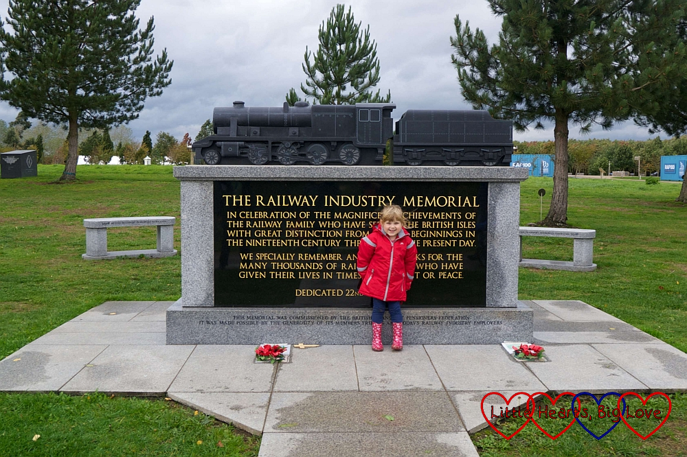 Sophie standing in front of the Railway Industry memorial