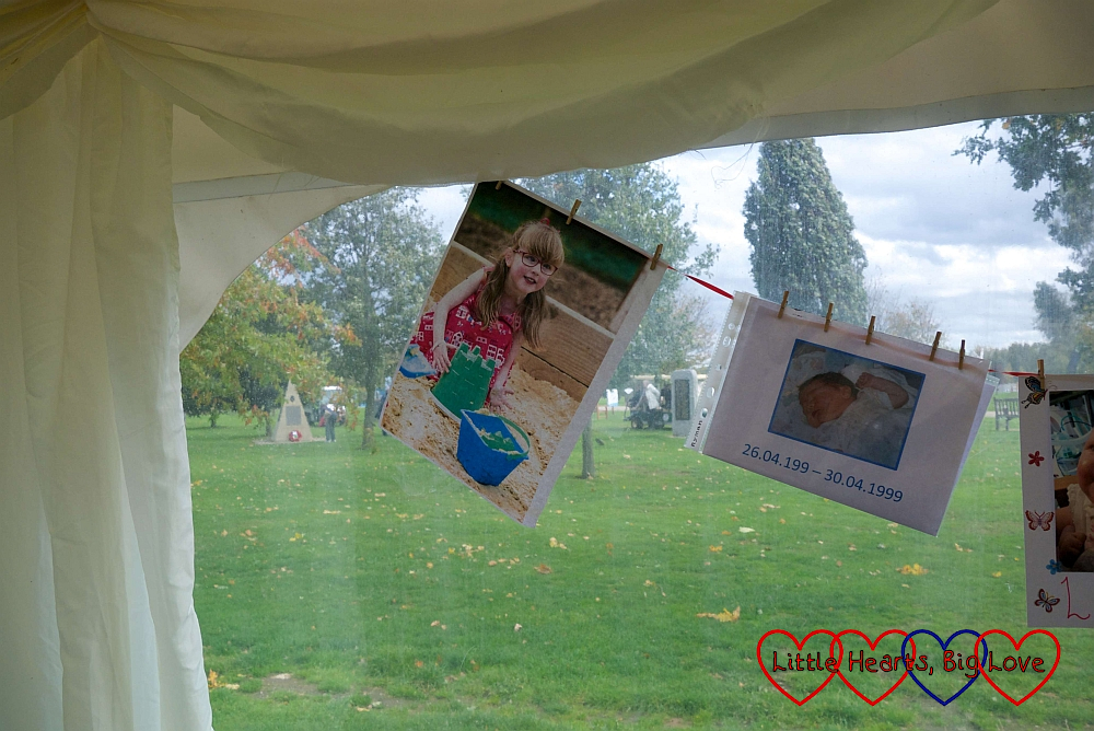The photo of Jessica hanging in the marquee