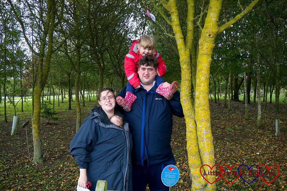 Me, Thomas, hubby and Sophie next to the LHM tree at the National Memorial Arboretum