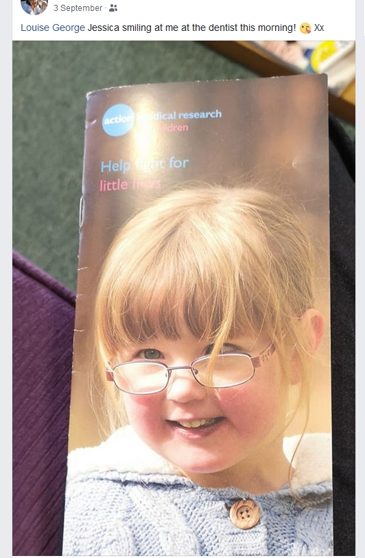 Jessica on the front of an Action Medical Research leaflet shared by a friend on Facebook