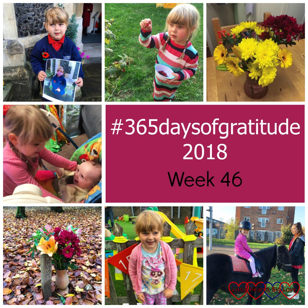 "Sophie in her Girls' Brigade uniform holding a photo of Jessica in her Girls' Brigade uniform; Sophie picking raspberries; a vase of flowers; Thomas smiling at Sophie; flowers at Jessica's forever bed; Sophie wearing pyjamas; Sophie riding a pony - ""#365daysofgratitude 2018 - Week 46"""