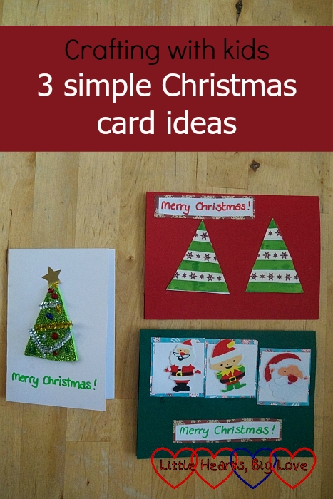 "A sparkly craft foam Christmas tree card; a ribbon Christmas tree card and a card with festive stickers on - ""Crafting with kids - 3 simple Christmas craft ideas"""