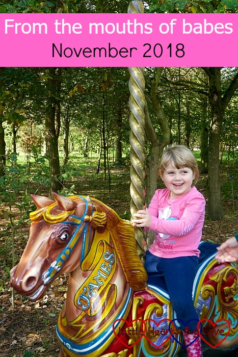 "Sophie on a carousel horse - ""From the mouths of babes: November 2018"""