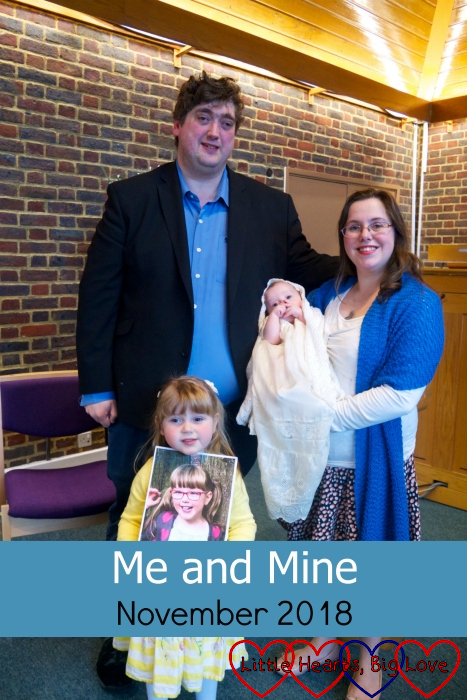"Me, hubby, Sophie (holding a picture of Jessica) and Thomas at Thomas's christening - ""Me and Mine: November 2018"""