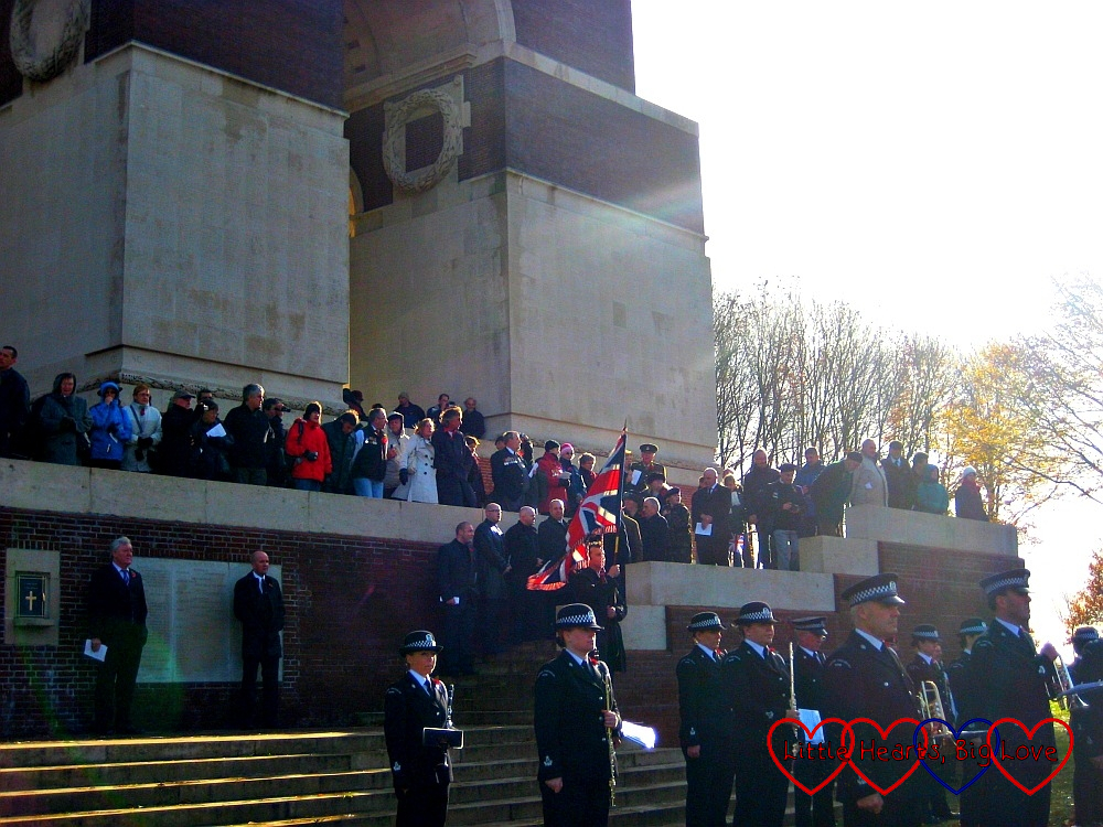 People gathering for the service at the Thiepval memorial on Armistice Day