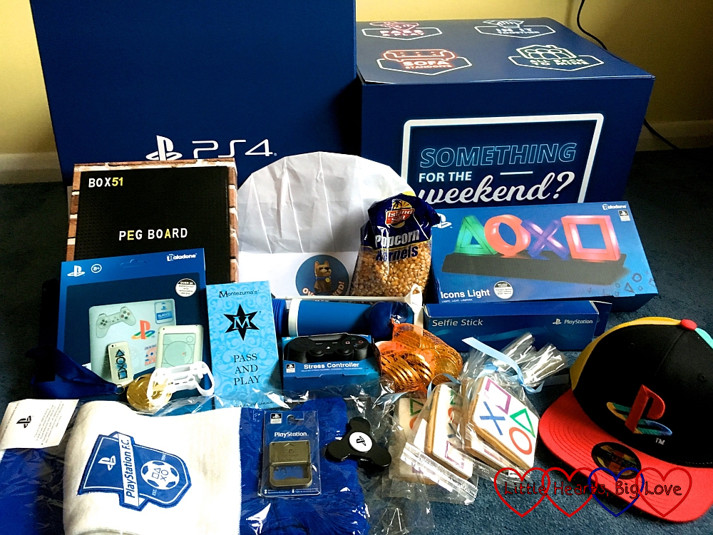 The box of PlayStation themed goodies
