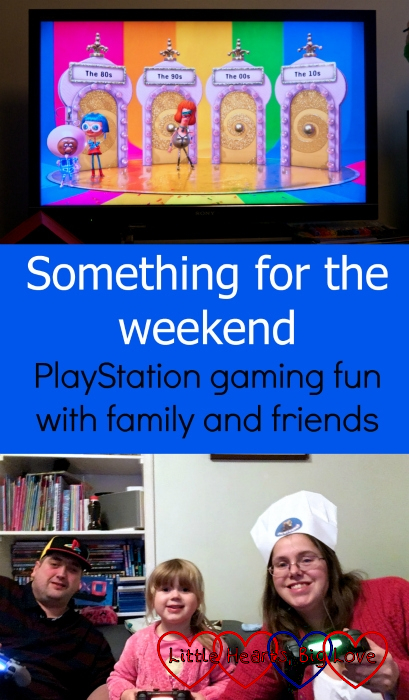 "A screenshot from Knowledge is Power: Decades (top) and me, hubby and Sophie playing on the PlayStation (bottom) - ""Something for the weekend: PlayStation gaming fun with family and friends"""