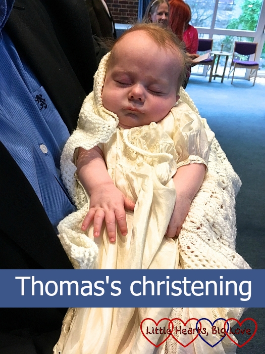 "Thomas wearing his grandad's christening gown and his daddy's christening shawl - ""Thomas's christening"""