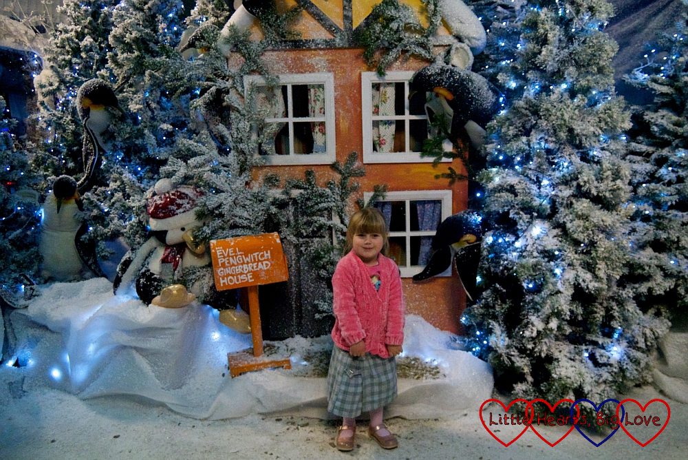 Sophie standing outside one of the houses in the Winter Wonderland