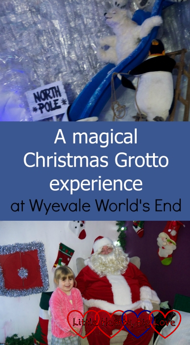 "(top) A polar bear sliding down a slide; (bottom) Sophie with Father Christmas - ""A magical Christmas Grotto experience at Wyevale World's End"""
