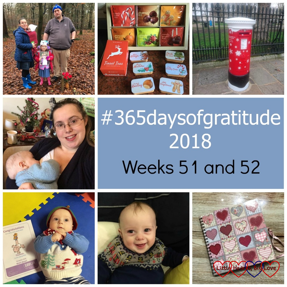 """Me, hubby, Sophie and Thomas at Jessica's forever bed; a selection of festive teas from Adagio teas; a festive postbox; me feeding Thomas; Thomas with his first signing certificate; Thomas smiling; an album with hearts on the cover - """"#365daysofgratitude - Weeks 51 and 52"""""""