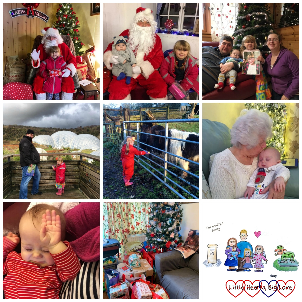 Sophie with Santa at Lappa Valley; Sophie and Thomas with Santa; me, hubby, Thomas and Sophie holding Jessica's picture in front of our Christmas tree at Coombe Mill; Sophie and hubby at the Eden Project; Sophie feeding one of the ponies at Coombe Mill; my mum giving Thomas a kiss; Thomas holding his hand in front of his face; a pile of presents in front of our Christmas tree at home; a watercolour picture of me, hubby, Jessica, Sophie and Thomas