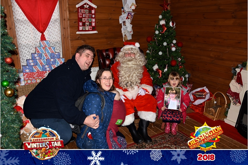 Hubby, me, Thomas and Sophie (holding Jessica's photo) with Santa at Chessington