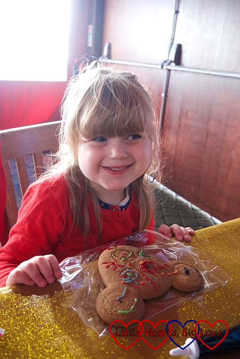 Sophie with her decorated mouse cookie