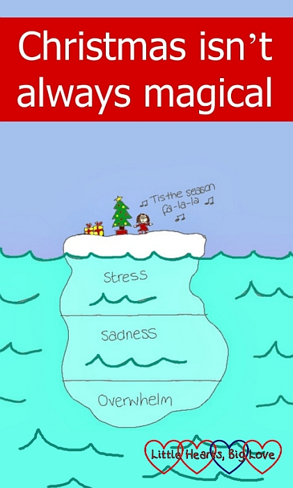 """A picture of a festive scene on top of an iceberg with """"stress"""", """"sadness"""" and """"overwhelm"""" beneath the surface - """"Christmas isn't always magical"""""""