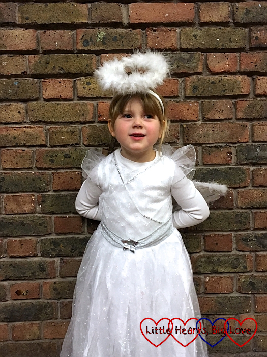 Sophie as an angel in her school nativity