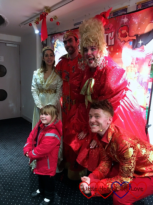 Sophie with the panto characters from Aladdin