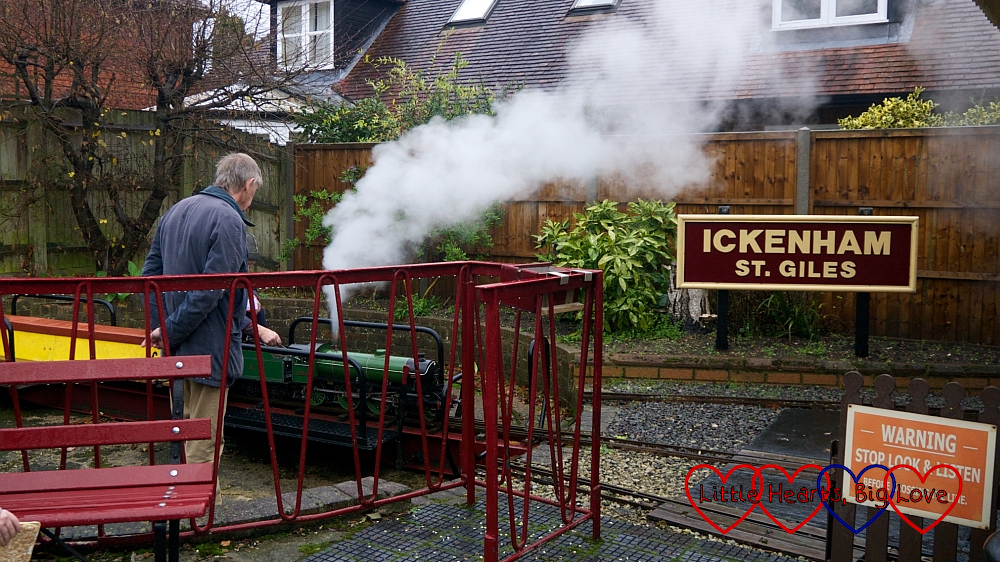 One of the trains turning around on the turntable at Ickenham Miniature Railway