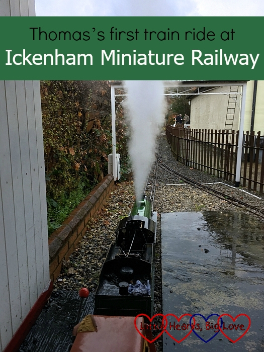 "One of the miniature steam trains at Ickenham Miniature Railway - ""Thomas's first train ride at Ickenham Miniature Railway"""