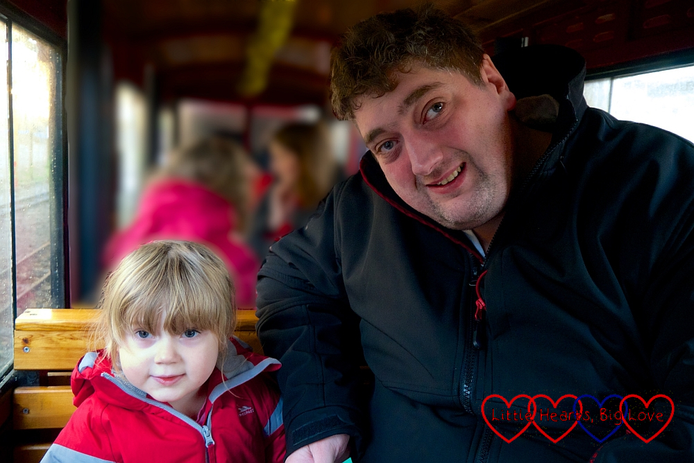 Sophie and Daddy on the steam train