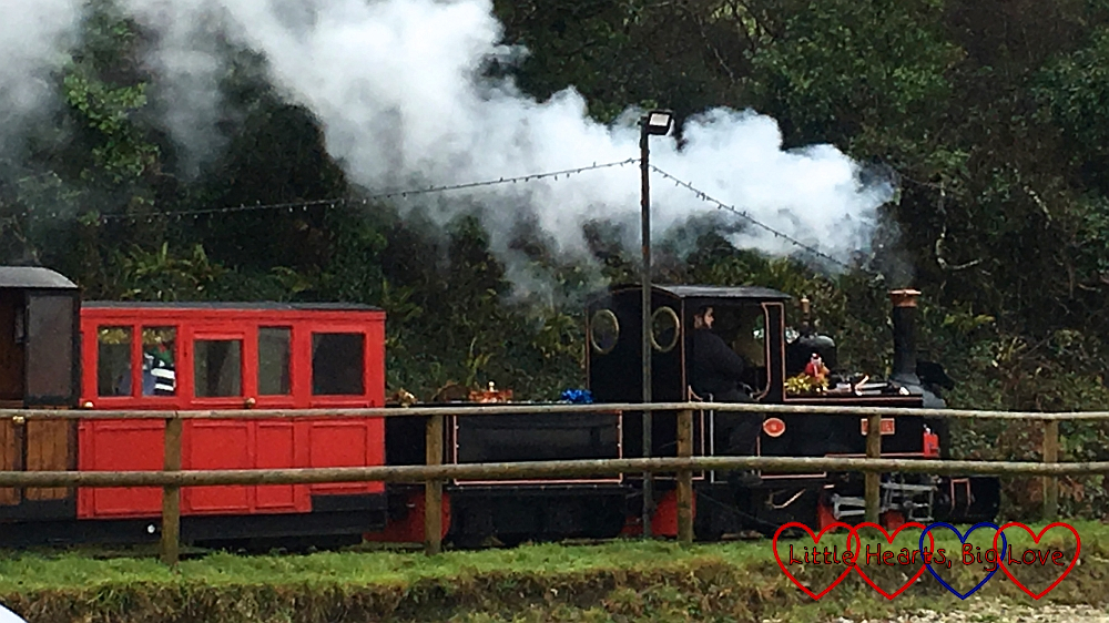 The steam train heading back to East Wheal Rose station