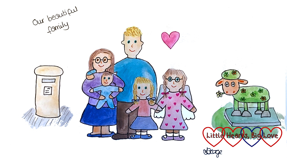A watercolour drawing of me, hubby, Jessica, Sophie and Thomas