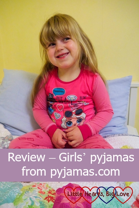 "Sophie wearing LOL Surprise Dolls pyjamas - ""Review - Girls' pyjamas from pyjamas.com"""