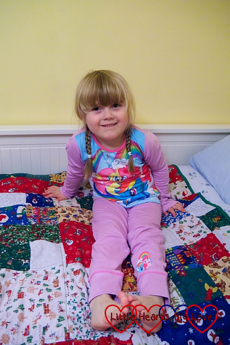 Sophie wearing My Little Pony pyjamas